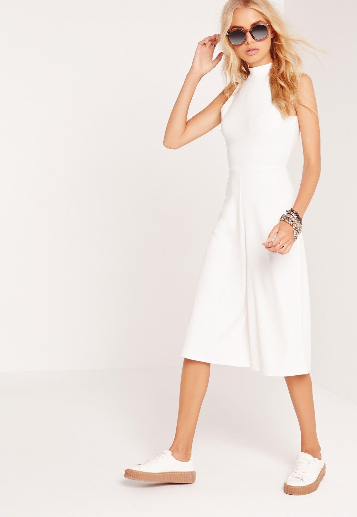 f0bef6e966 Missguided - High Neck Culotte Jumpsuit White