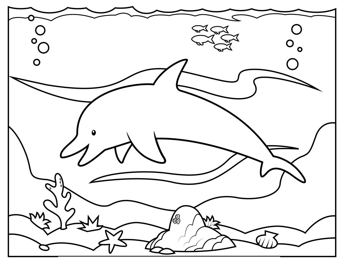 Dolphins Swimming In Water With Quiet Coloring Pages For Kids Bza Printable Dolphins Colorin Dolphin Coloring Pages Free Coloring Pages Ocean Coloring Pages