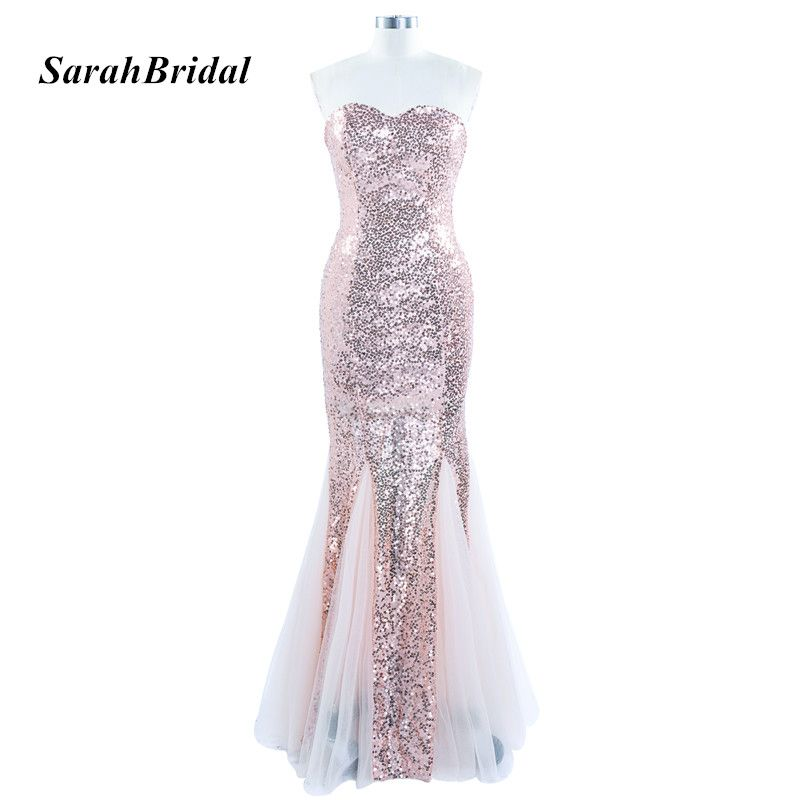 Long Bling Blush Sequin Evening Dress Mermaid Sweetheart Tulle Formal Evening Gowns Customer Made Real Photo SD235BL  #Affiliate