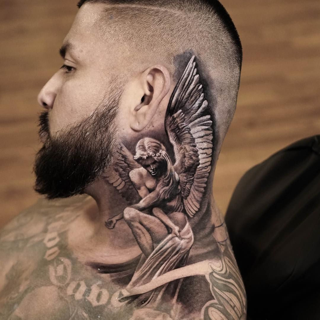 Pin By Alexander Mcqueen On Awesome Tatoo Neck Tattoo For Guys Full Neck Tattoos Best Neck Tattoos