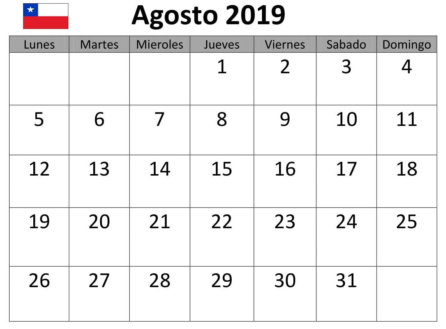 Calendario De Agosto 2019 Chile.Agosto Calendario 2019 Chile Excel Cuadro Mensual