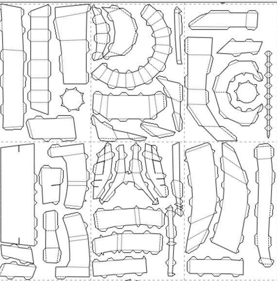 Gears Of War Onyx Traje De Armadura De Guardia Rreplica Patrones 3 D Para Pepakura Para Construir Su Propio Gears Of War Armaduras Patrones