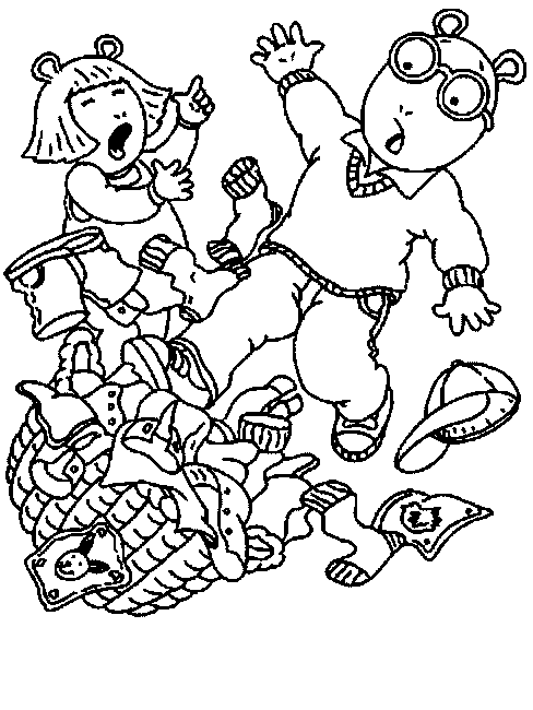 Arthur Slip Pile Of Clothes Coloring Pages For Kids Printable