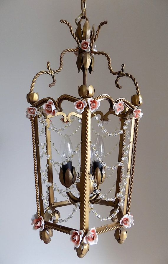 Antique Lantern Italian Tole Vintage 3 Lights With Crystals Swags And Porcelain Flowers