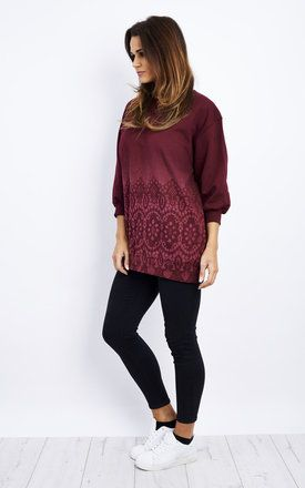 Oversized Lace Print Jumper/Dress 3qtr Sleeves