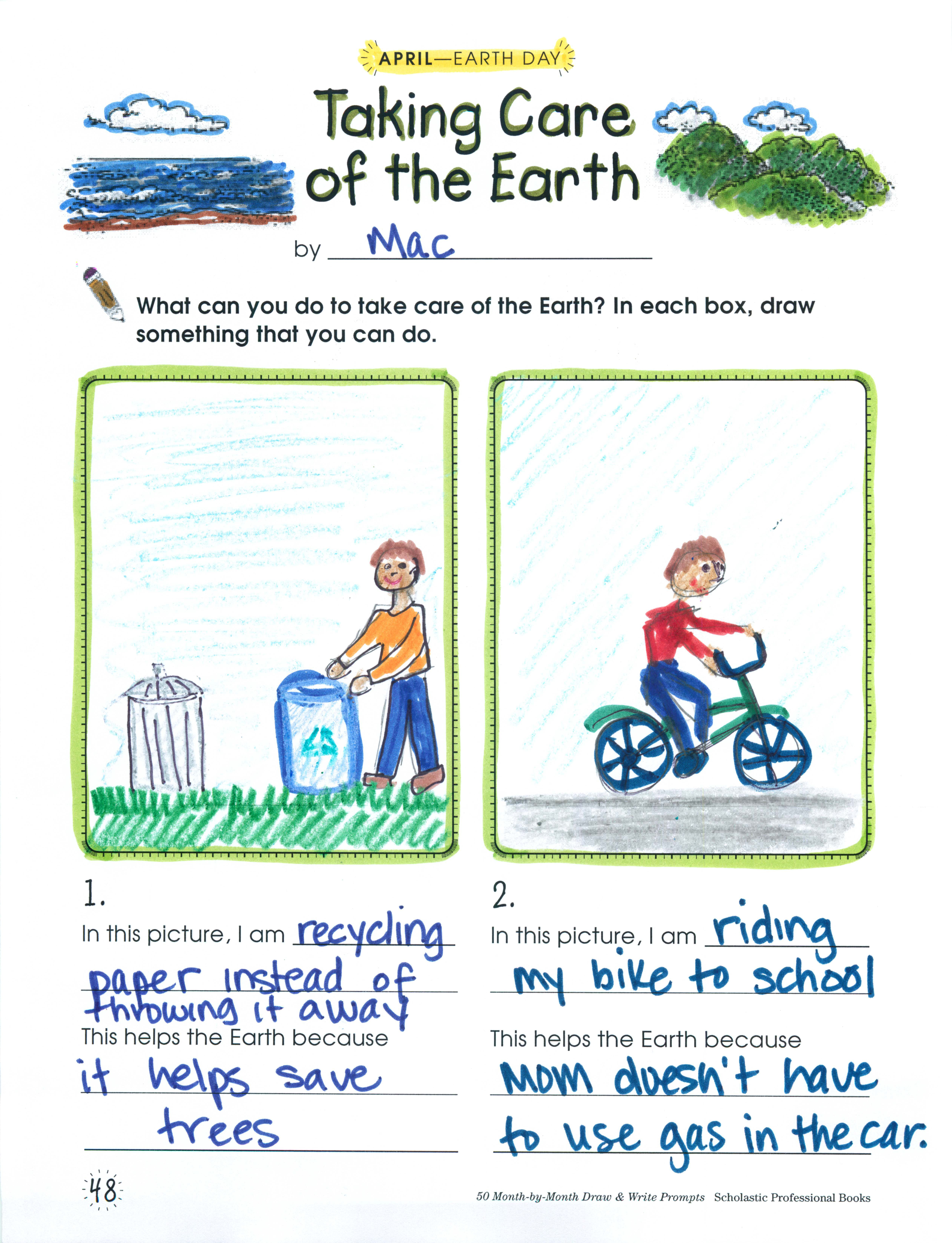 Keep Your Class Environmentally Aware With This Drawing And - Us map crosswords scholastic professional books answers