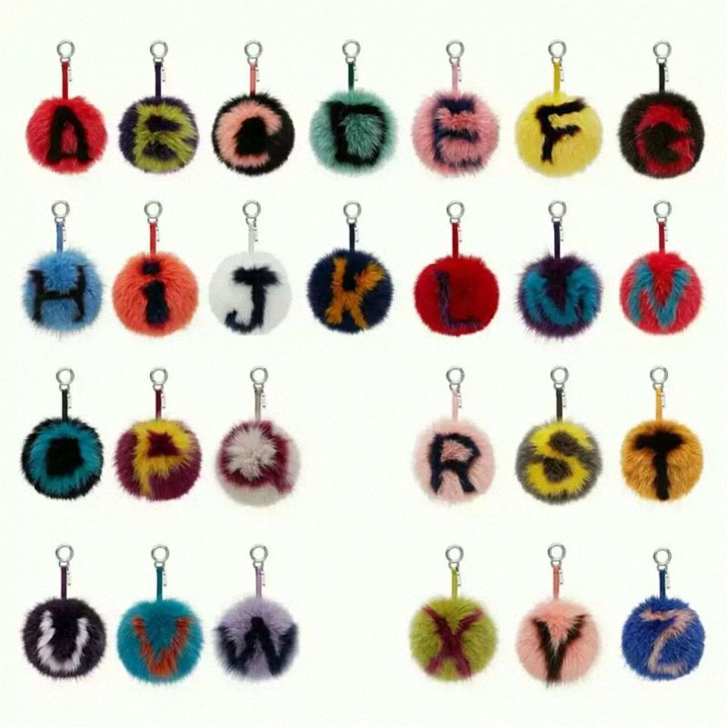 8efe5f976a Click to Buy    15CM Big Fluffy Initial Pom Pom Keychains Handmade Real Fox  Fur Ball Keychains Bag Charm Monster Alphabet Letter Pompoms Fo-K023   Affiliate.