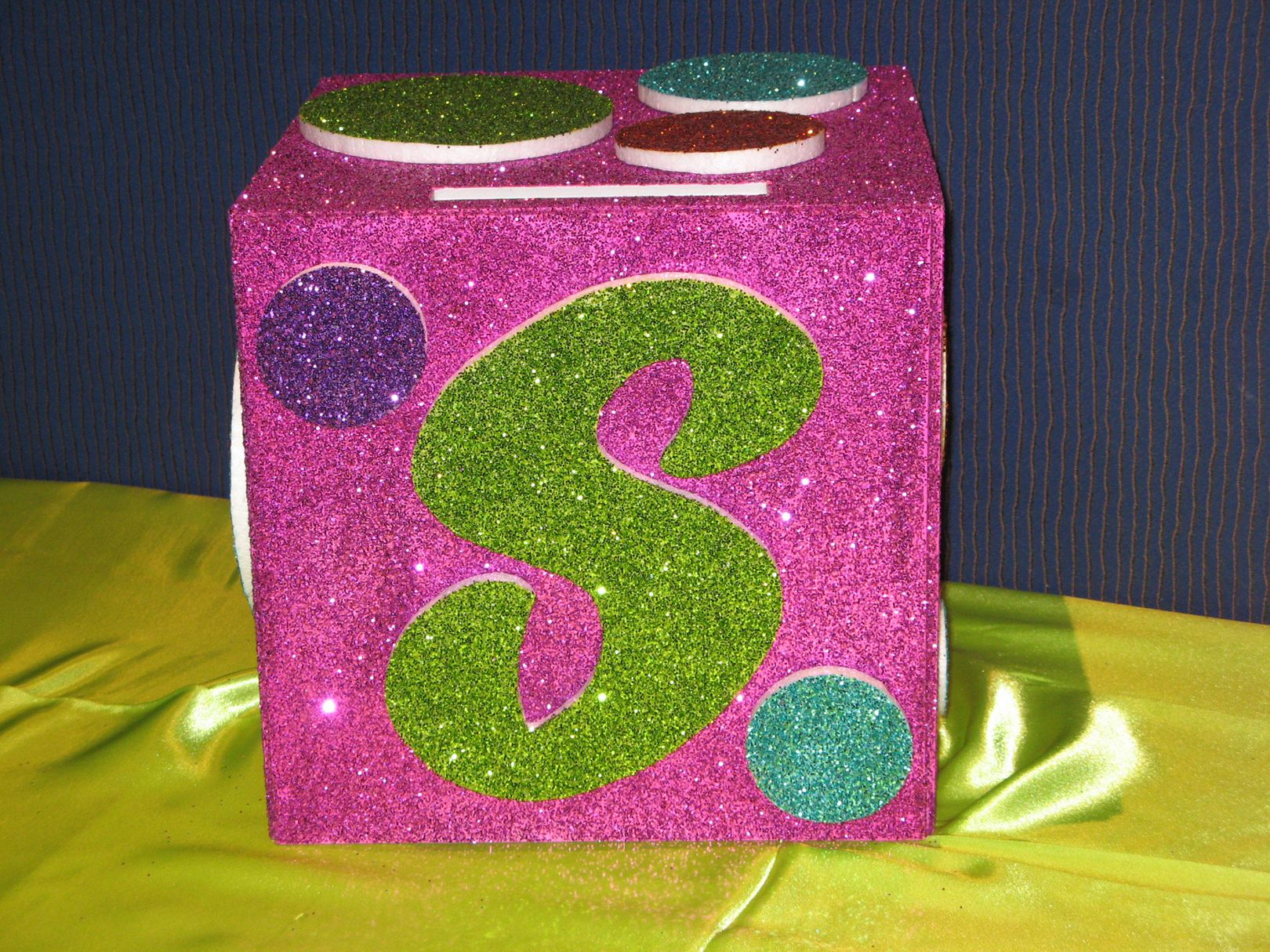 Polka Dot Glittered Gift Box by www.idealpartydecorators.com