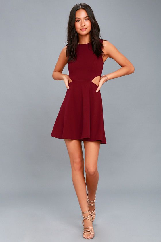 ef247acfb3f71 Toast to You Wine Red Cutout Skater Dress in 2019 | Prom | Dresses ...