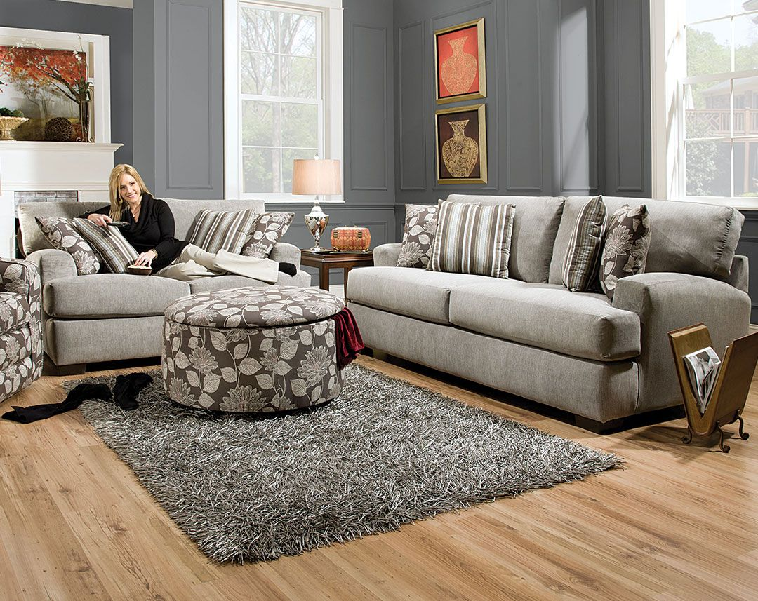 Grey Microfiber Couch Set, Accent Pillows | Josephine Sofa ...