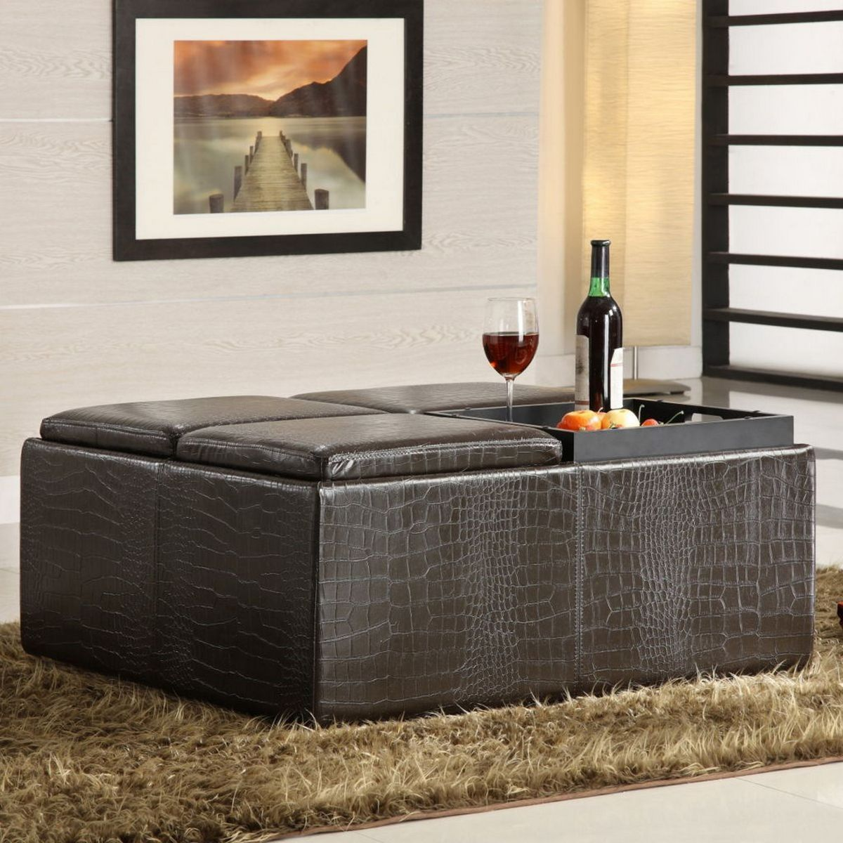Astonishing Large Black Ottoman In Square Shape For Contemporary Style Caraccident5 Cool Chair Designs And Ideas Caraccident5Info
