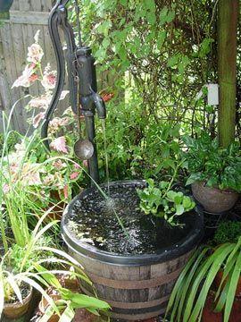 Old Pump As A Fountain To Recirculate Water Through