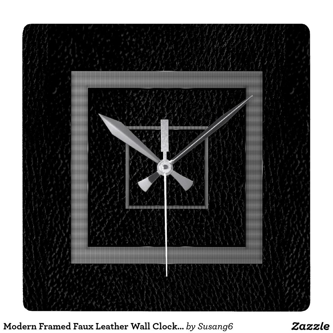 Modern framed faux leather wall clock black square wall clock modern framed faux leather wall clock black square wall clock amipublicfo Gallery