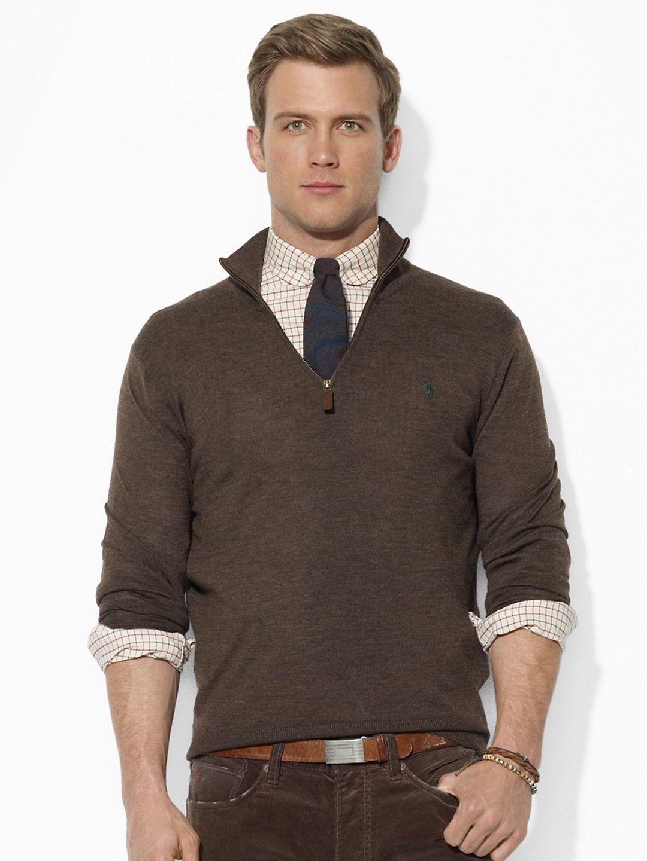 Merino Wool Half-Zip Sweater - Shawl & Turtleneck Sweaters ...