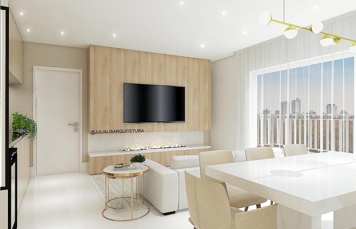 Julia Lis Arquitetura Curitiba Apartamento Boa Vista Sala Com  -> Lustre Para Sala De Apartamento