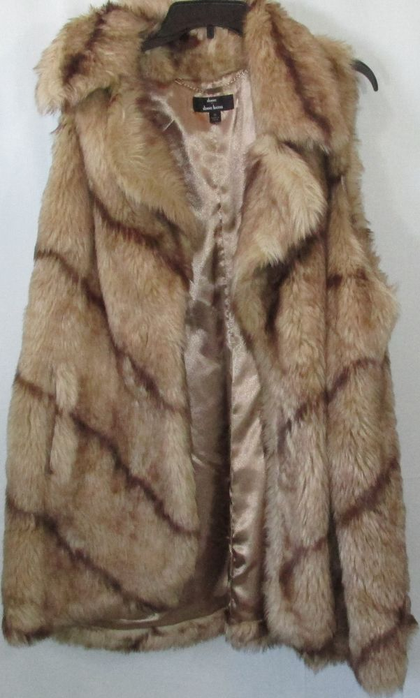 Denis by Denns Basso - Plus Size Tan and Brown Faux Fur Vest, Size 3x #DennisBasso