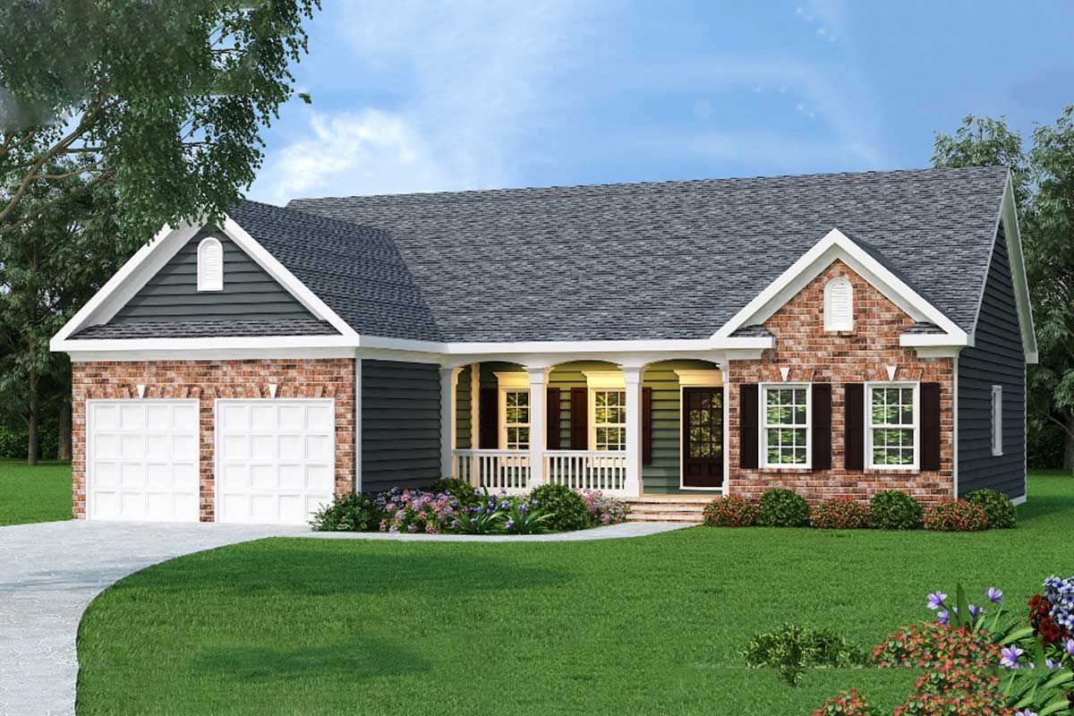 Plan 75512gb Ranch Home Plan In 2 Exteriors Brick Exterior House Ranch House Plans Ranch Style Homes