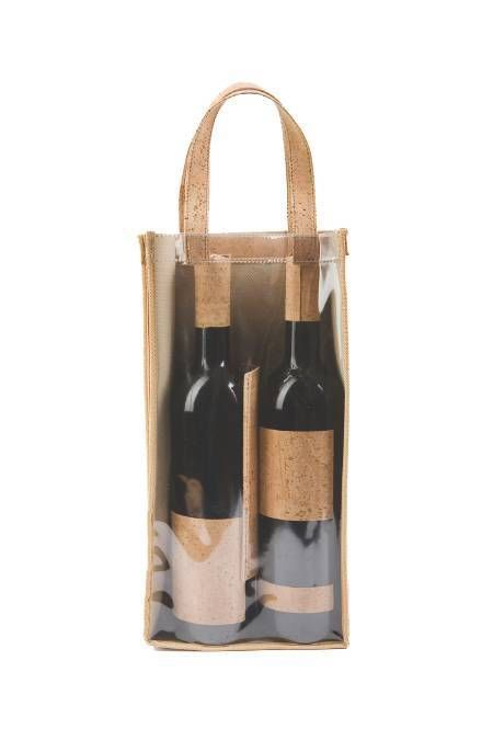 Case for transport of wine bottles made of Natural Tree Cork