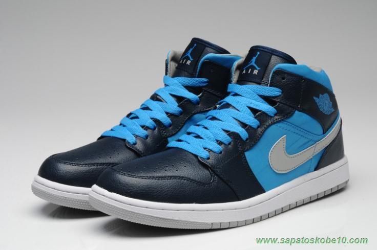 Tenis Barato De Marca Air Jordan 1 Retro 554724 007 Preto Azul