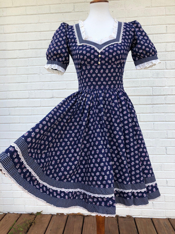 1970s Navy Blue Dress