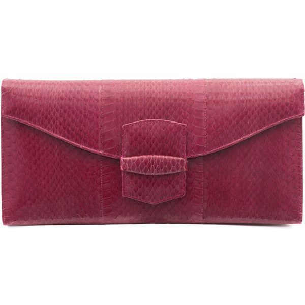 Oscar de la Renta Grafton East West Clutch (1.605 BRL) ❤ liked on Polyvore featuring bags, handbags, clutches, red, snakeskin clutches, snakeskin purse, snake skin handbags, purple handbags and snake skin purse
