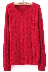 Red Long Sleeve Patched Suede Elbow Cable Knit Sweater (Size M; Color Red)