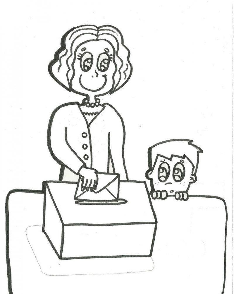 Открытки, рисунок все на выборы раскраска