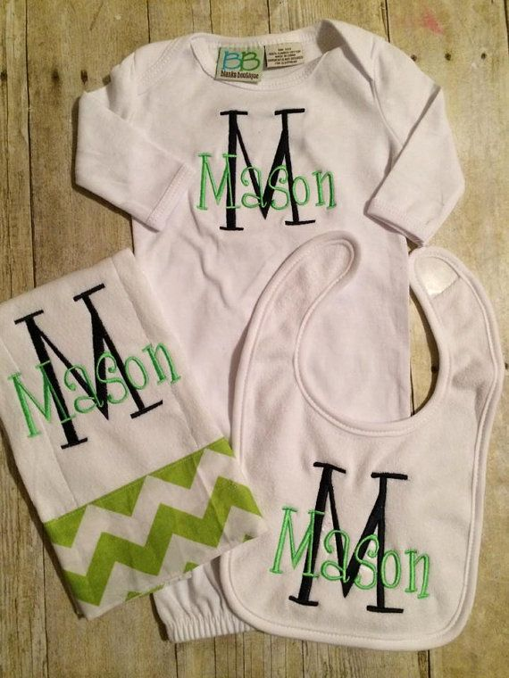 Personalized Baby Boy/Girl Gown Set on Etsy, $40.00   Embroidery ...