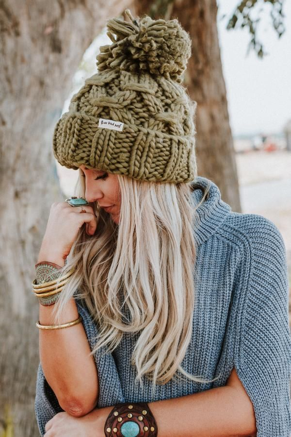 99c53c5dab7 Olive Green Beanie Big Pom Pom Boho Stocking Cap Army Cargo Winter Hat Huge  Pom Free Spirited People