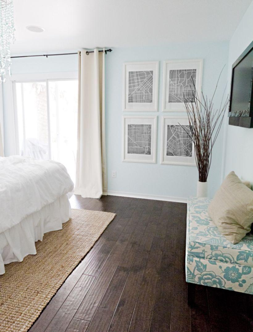 47 Dark Wood Floor Ideas for Modern Bedroom #sunflowerbedroomideas