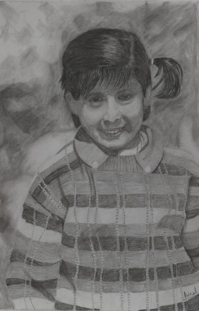 'Mom at Candy Floss School' by Mrinal Kanti Majumder. This is a drawing from a reference photo of my daughter when she was at school. The size of the drawing is 10 inches wide and 15 inches high. I used graphite pencils, paper stumps and erasers on a sketch book paper.