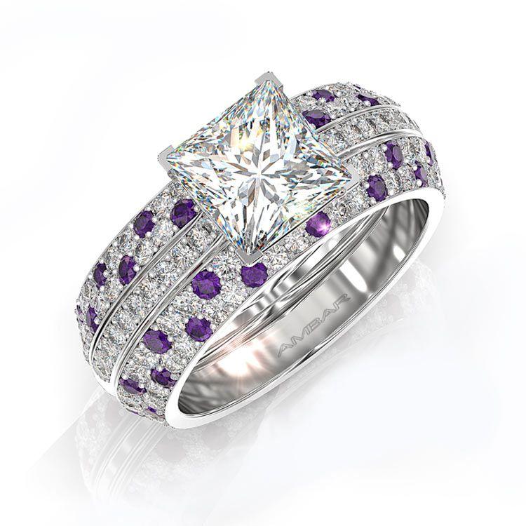 Engagement Ring Princess Diamond Bookend Bands Diamond
