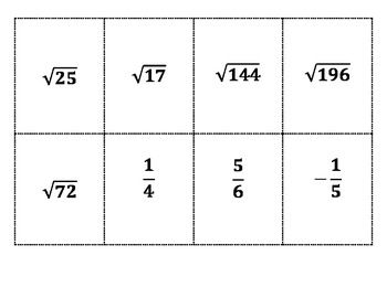 Real Number System Sort Activity Real Number System Sorting