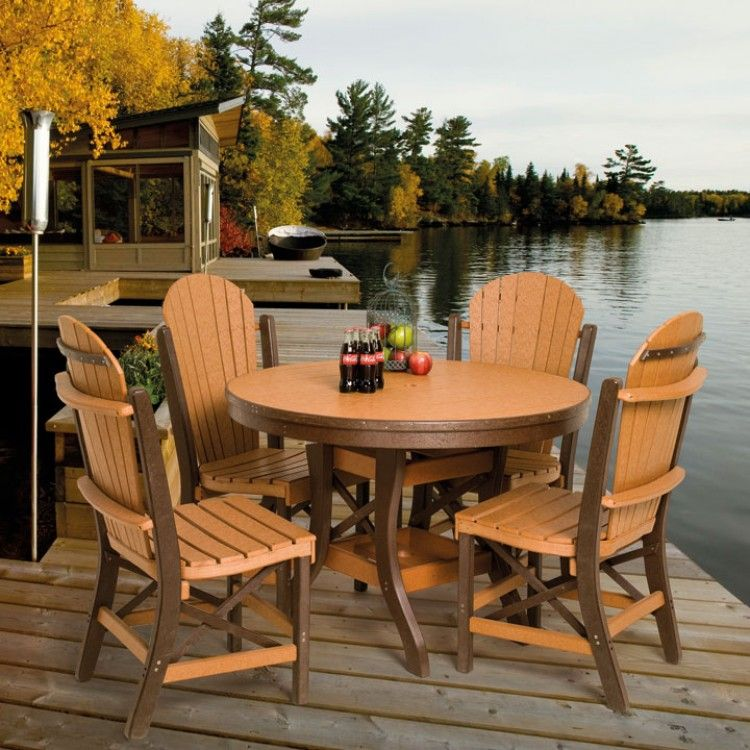 Amish poly round patio dining table set amish polywood for Amish outdoor furniture