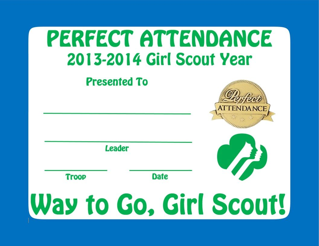 Girl Scout Perfect Attendance Certificate