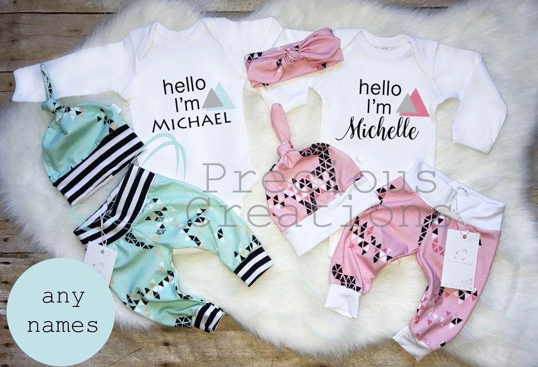f8a007685575 Organic Twins Coming Home Outfit Newborn Outfit Baby Boy Outfit Baby ...