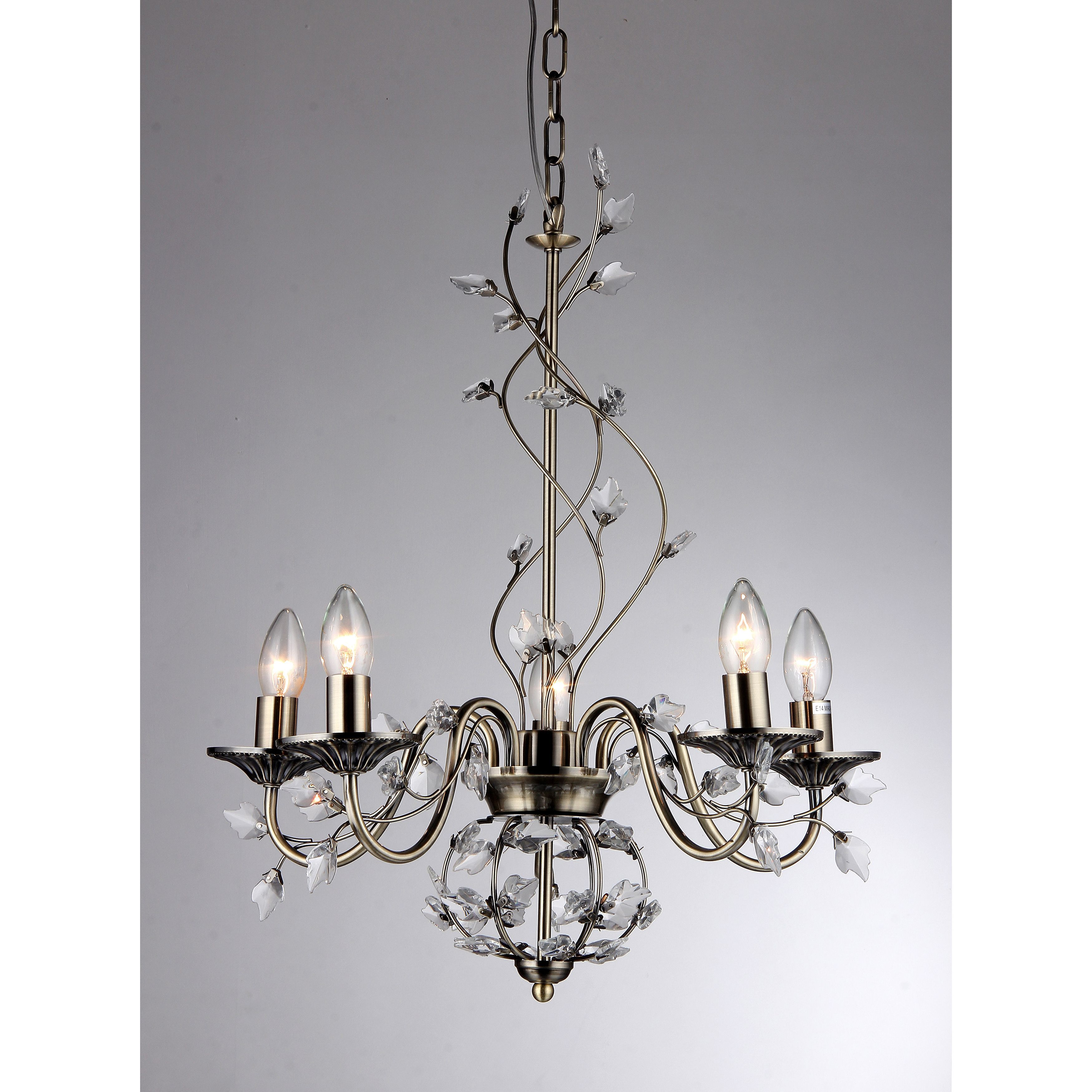 Charlotte 5 light Bronze 20 inch Crystal Branches Chandelier by