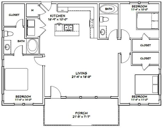 46x30 House 3 Bedroom 2 Bath 1 338 Sq Ft Pdf Floor Plan Instant Download Model 1 Small House Floor Plans House Floor Plans Pole Barn House Plans