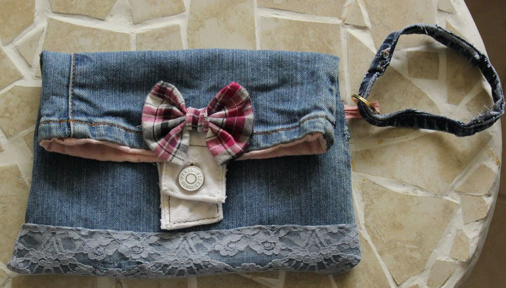cute SHABBY upcycle blue jeans wristlet, pink lining, ribbon, lace 6 x 8 in, teen girls, trendy by eastwestcrafts on Etsy