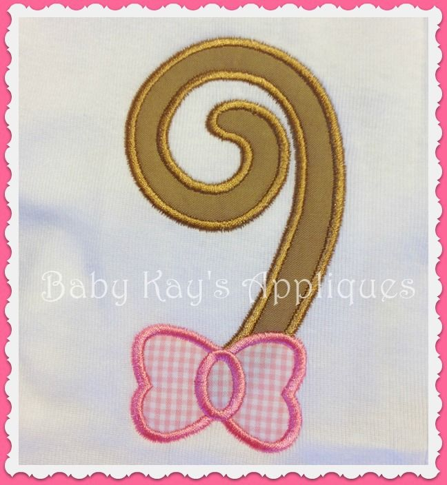 Monkey Tail with and without Bow Applique, This Monkey tail is perfect with our Monkey face designs. Comes with and without a bow. Use the Tail without a bow for boys or add your own ribbon bow.