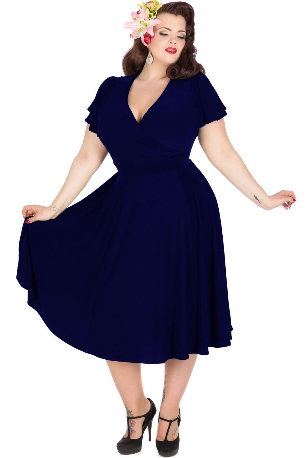 Vintage 1950\'s Style Plus Size Party Dresses Navy Blue ...