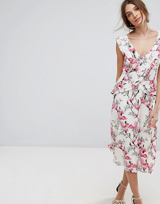 c2b227ffcfc03c Oasis Floral Printed Ruffle Tea Dress