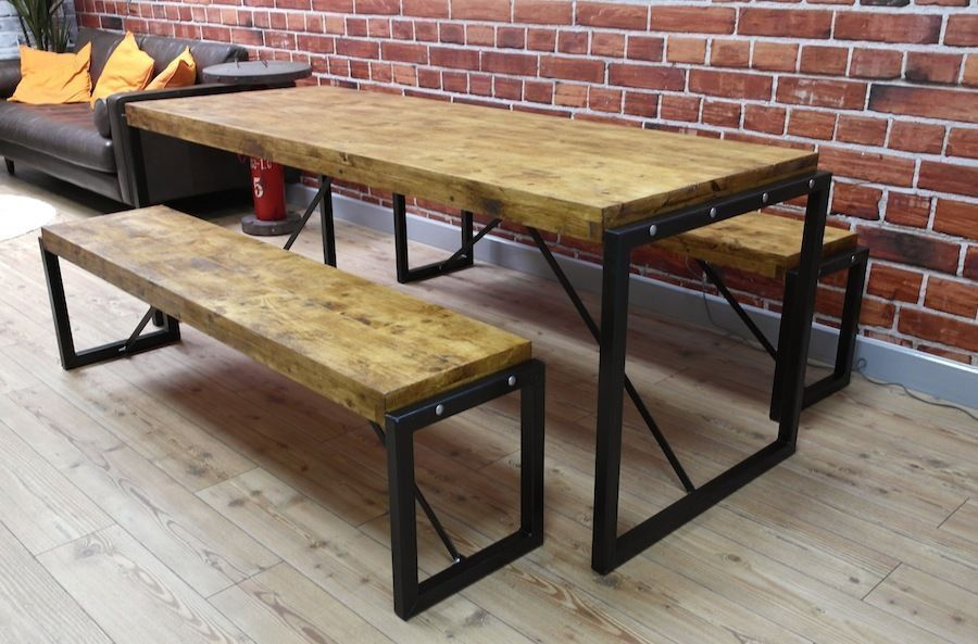Industrial Reclaimed Wood Steel Metal Kitchen Dining Table Benches Available United Kingdom G Steel Dining Table Industrial Dining Sets Table And Bench Set