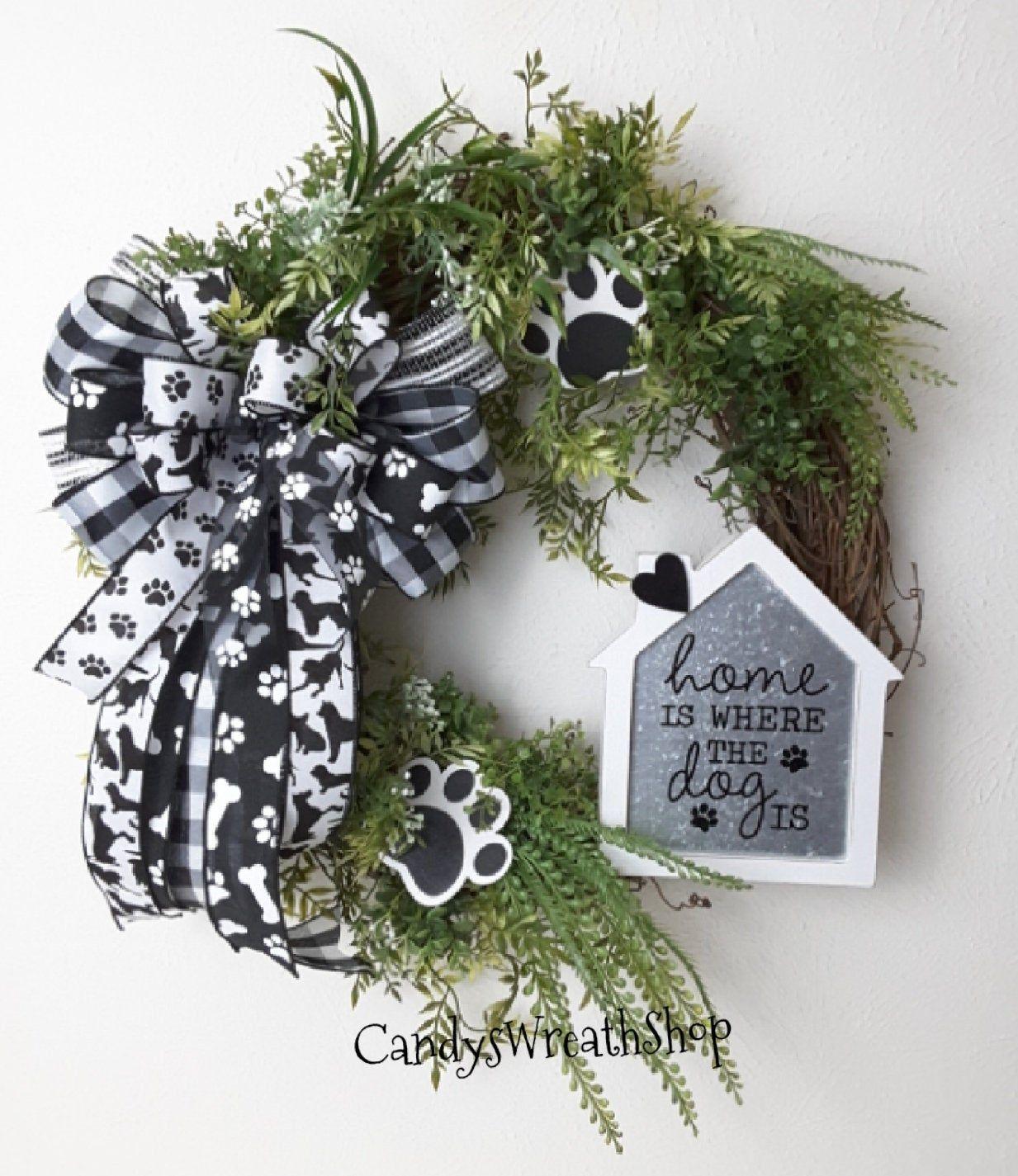 Photo of Dog Wreath, Dog Lovers Wreath, Pet Wreath, Grapevine Wreath, Paw Print Wreath, Buffalo Plaid, Dog Grapevine Wreath, Pet Decor, Paw Prints