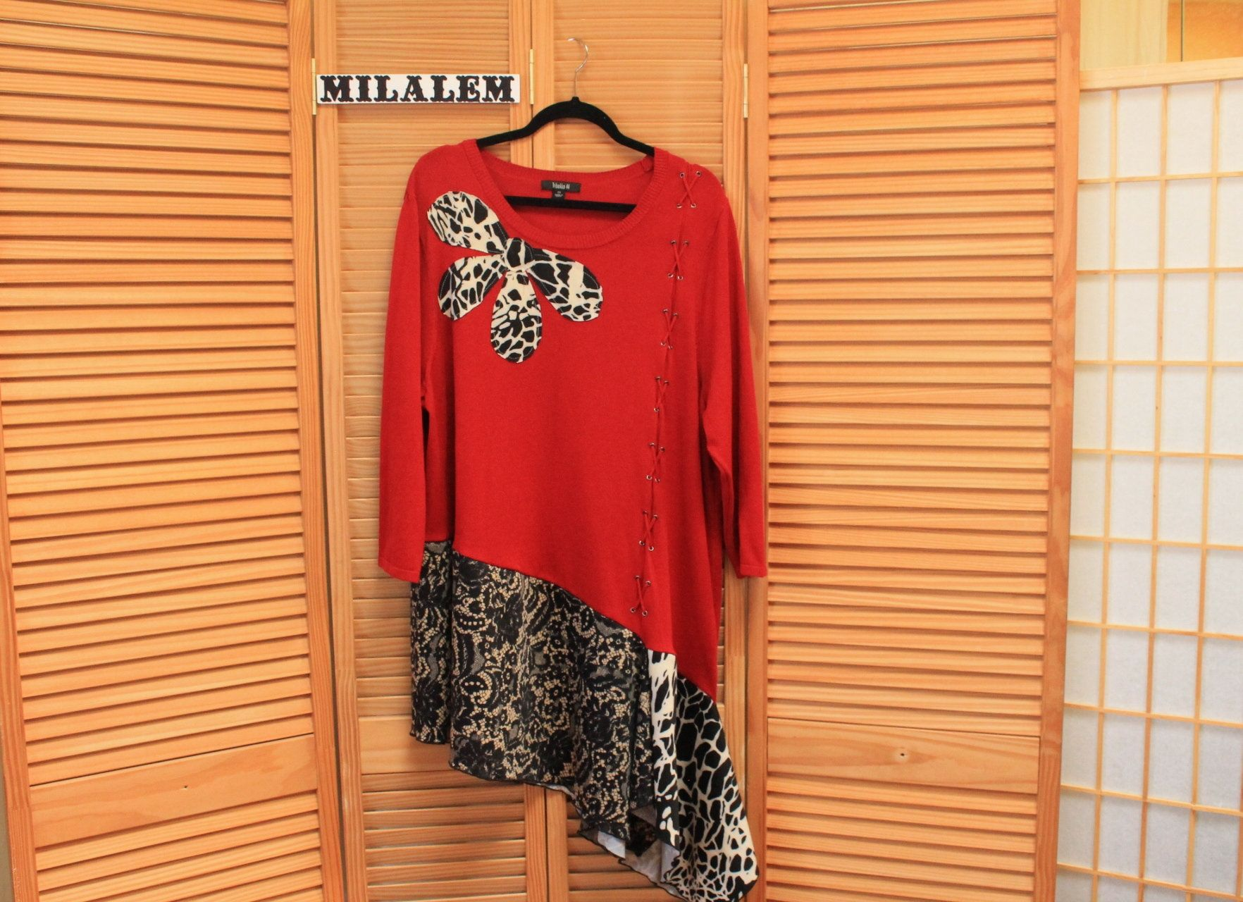 Red Jersey Top Vintage Refashion Upcycled Sweaters Boho Shabby Etsy Girls Casual Dresses Chic Sweaters Vintage Tops [ 1280 x 1764 Pixel ]
