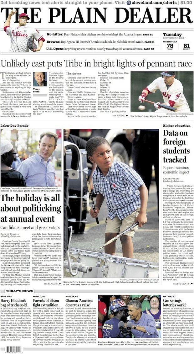 The Plain Dealer's front page for September 2, 2014 #cleveland