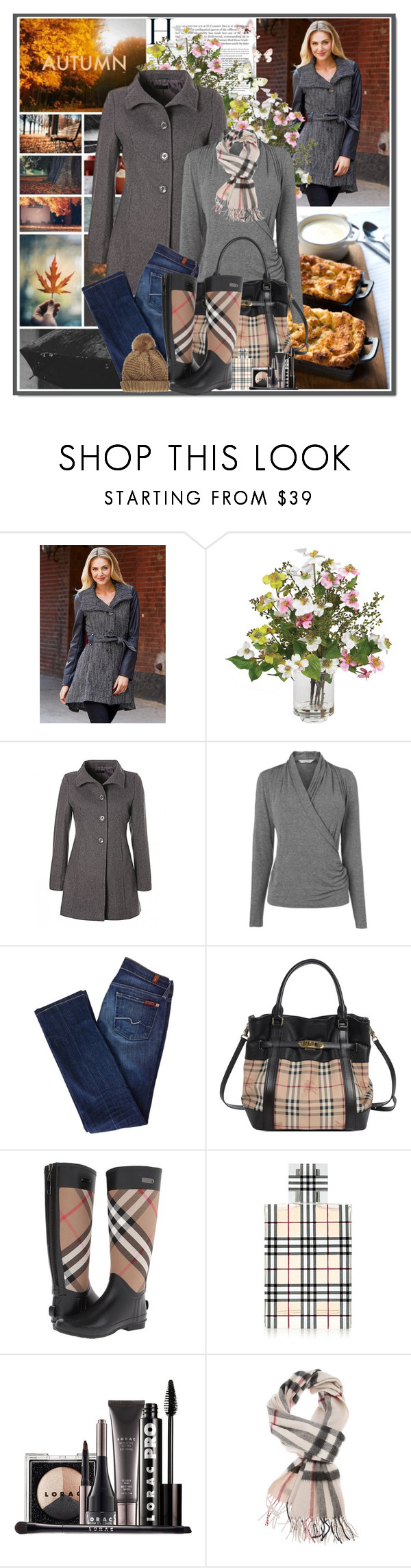 """Burberry Wellies"" by veroniqueleon ❤ liked on Polyvore featuring Steve Madden, Nearly Natural, L.K.Bennett, 7 For All Mankind, Burberry, LORAC and Topshop"