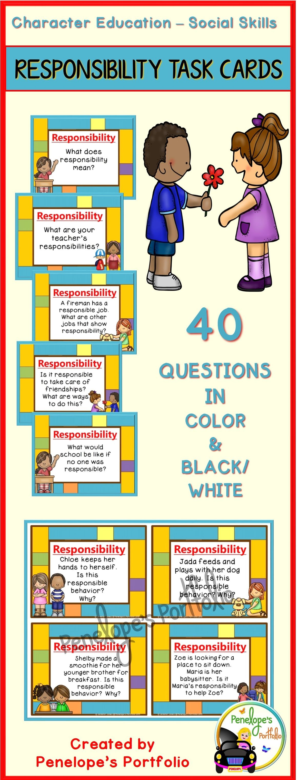 Character Education Responsibility Task Cards