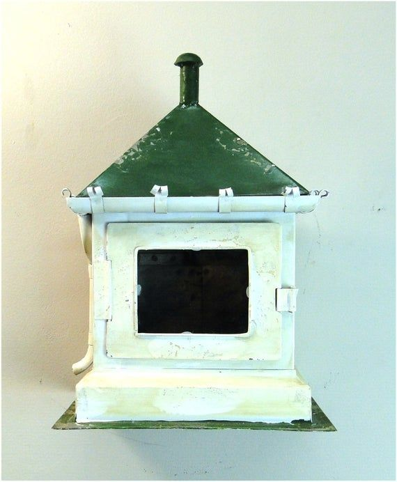 Miniature Hanging Garden House in Tin With Green Roof and Downspout Country Fun Garden