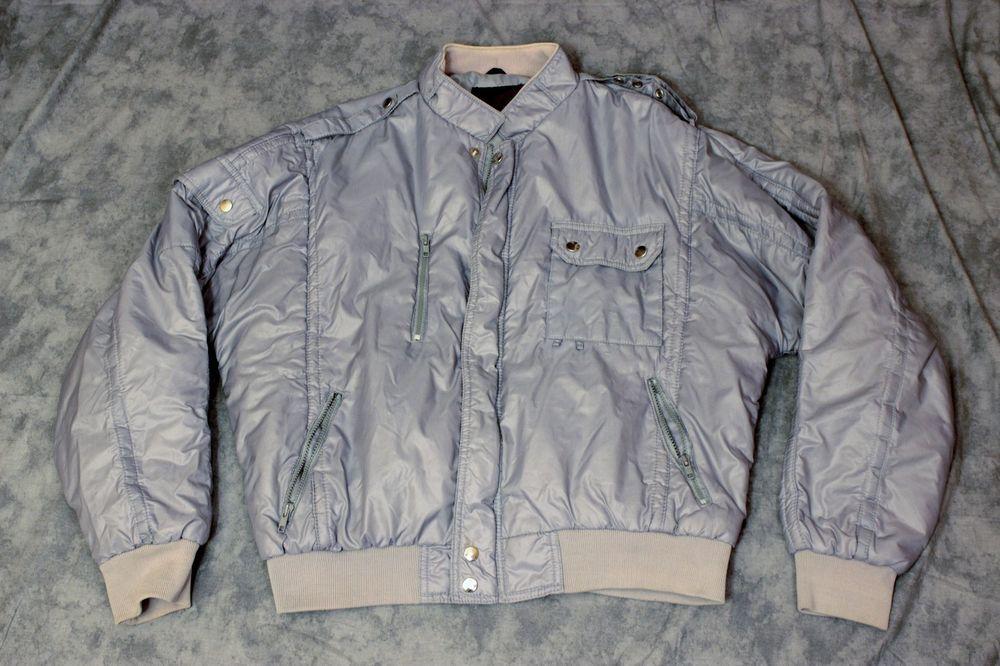 Vtg Upstream Zippered Jacket Sz XL Nylon Motorcycle Puffer Racing Division Gray  #UpstreamRacingDivision #Zippered